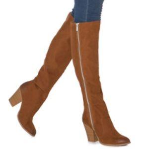 Shoedazzle Paulette Brown Knee High Boots Sz 9